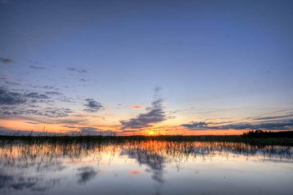 Sonnenuntergang über dem See Kösen 2