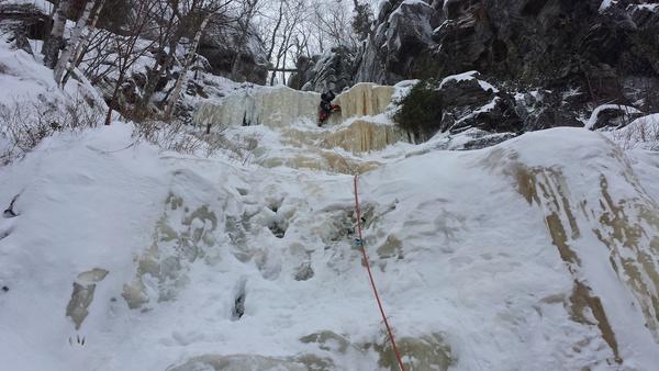Erste Seillänge von 'Ice Stud'