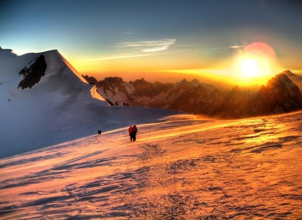 Sonnenaufgang am Col du Brenva 1
