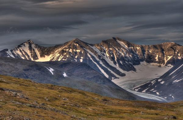 Sarektjåhkkå-Massiv vom Álggavágge aus